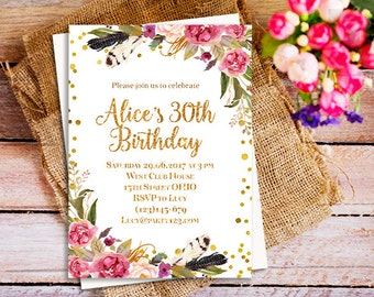 Th Birthday Invite Etsy - 21st birthday invitations gold coast