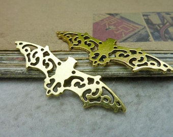 10 Large Bat Charms Antique Gold Tone 2 Sided -WS7715