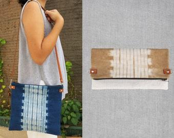 Natural Indigo Shibori on Cotton/Linen Mini Sling Bag/Clutch (2 Way)