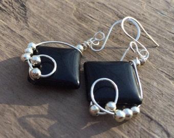 Black Bead Earrings Silver Bead Earrings Pierced Dangle Earrings Silver Earrings Wire Wrapped