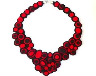 Felt necklace Felt bib necklace Felt necklaces textile necklace Red, Black Art, Fashion, Original, Unique, Jewelry, Art jewelry felt jewelry
