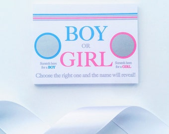 Baby Gender Reveal Scratch Off Cards, Pregnancy Reveal