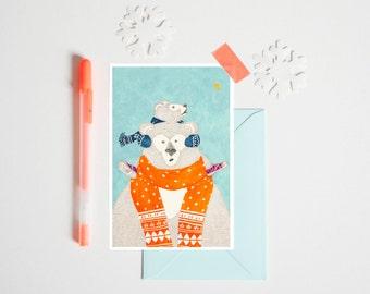 """Postcard """"Christmas BENSIMON"""" 10 x 15 cm - Illustration for children's bedroom - design handpainted - graphic Poster"""