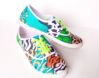 Custom animal print jungle canvas shoes - toddler/kids/adult hand painted shoes - personalized gift - specialty shoes -