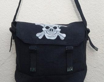 Hand painted messenger bag - Skull 'n' Cross Bones