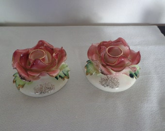 Stunning Vintage 1940s Capodimonte Candle Holders