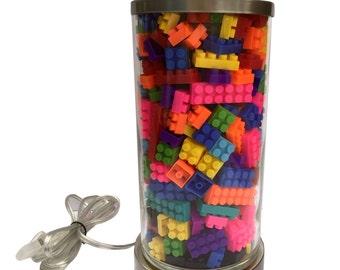 Lego Lamp, Building Block Lamp, Home Decor, Decor, Decoration, Building Block Theme, Lego Theme, Lego Decoration, Lego Decor, Legos, blocks