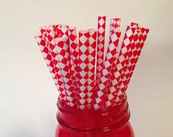 Red Harlequin Diamond Straws, diamond straws, Paper Straws, Paper Party Straws, Birthday Party, Baby Shower, Wedding Shower, 10 pcs