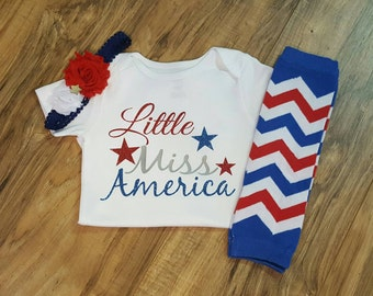 Fourth of July baby- 4th of july outfit, baby girl, shirt for girls, miss america, 4th of July outfit girl, glitter baby shirt, leg warmers