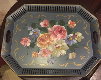 Vintage Large Hand Painted Tole Tray Great Condition