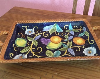 Ceramic serving platter, vintage ceramic serving tray, Talavera style serving plater with handles, hand painted platter