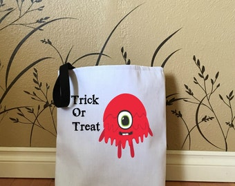 Trick or Treat Bag with Red Monster, Tote Bags for Kids, Halloween Bags, Tote Bags for Trick or Treat, Halloween Decorations