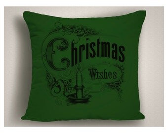 Green Christmas Wishes Throw Pillow,  Christmas Pillow Covers, Holiday Pillows, Christmas Decorations