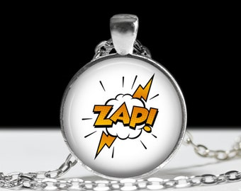 Zap Comic Book Necklace - Comics Sound Effect Jewelry - Punk, Hardcore, Gothic, Nerd, Geek, Geekery, Dork - 1 inch Silver and Glass Pendant