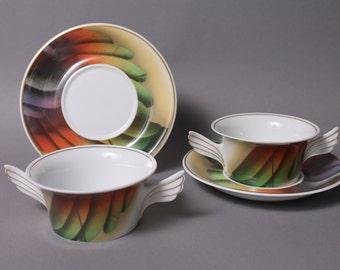 Rosenthal Mythos Icaria 2 Soup Cup Sets Design P. Wunderlich Germany