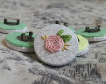 Single Pink Rose Embroidery Needlepoint Badge Brooch