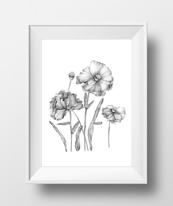 Black And White Floral Wall Decor : Black and white floral wall art printable print