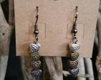 Celtic heart drop earrings