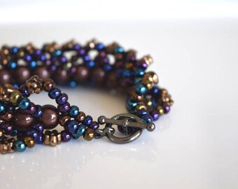 Bracelet, woven Bracelet, Bracelet bronze, mauve and blue rock, rock garden Bracelet, handmade, Unique, woven jewel, ideal gift
