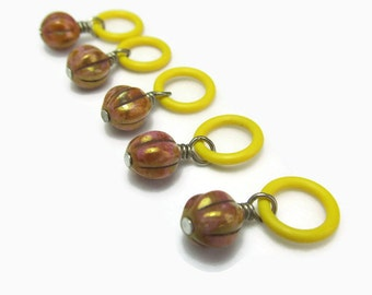Stitch markers for knitting, pumpkin bronze and yellow knit markers