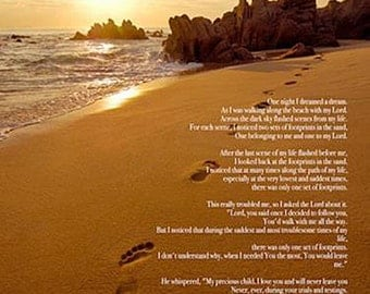 Footprints in the Sand Poster Print God Christian Inspirational Poem (18x24)