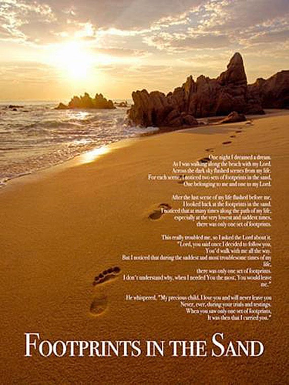 Footprints in the Sand Poster Print God Christian