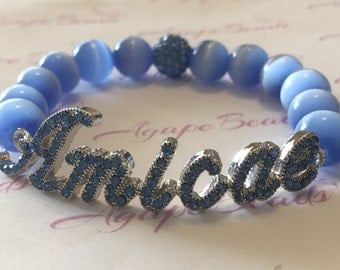 Zeta Phi Beta - Zeta Amicae Inspired Light Blue Crystal Amicae Bracelet - Cat's Eye