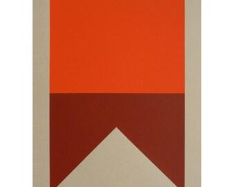 Nautical Signal Flag / Silkscreen Print                             A-Alpha Swallowtail (Red, OxBlood)