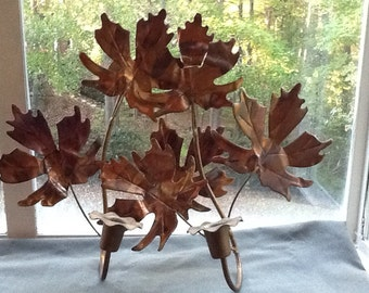Pair of Vintage Copper Leaves Candle holders