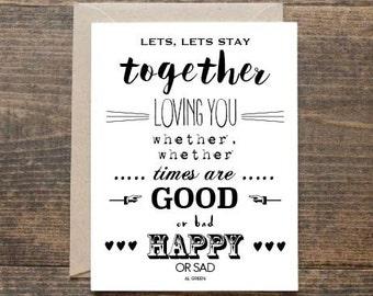 "AL GREEN ""Stay Together"" Lyrics Valentine's Greetings Card"