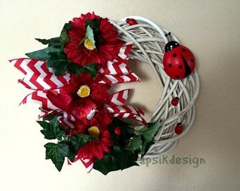 Ladybug Wreath, Flower Wreath, All Season Wreath, Mothers Day Wreath, Mothers Day Gift, Wall Decor, Home Decor, Spring, Summer Wreath