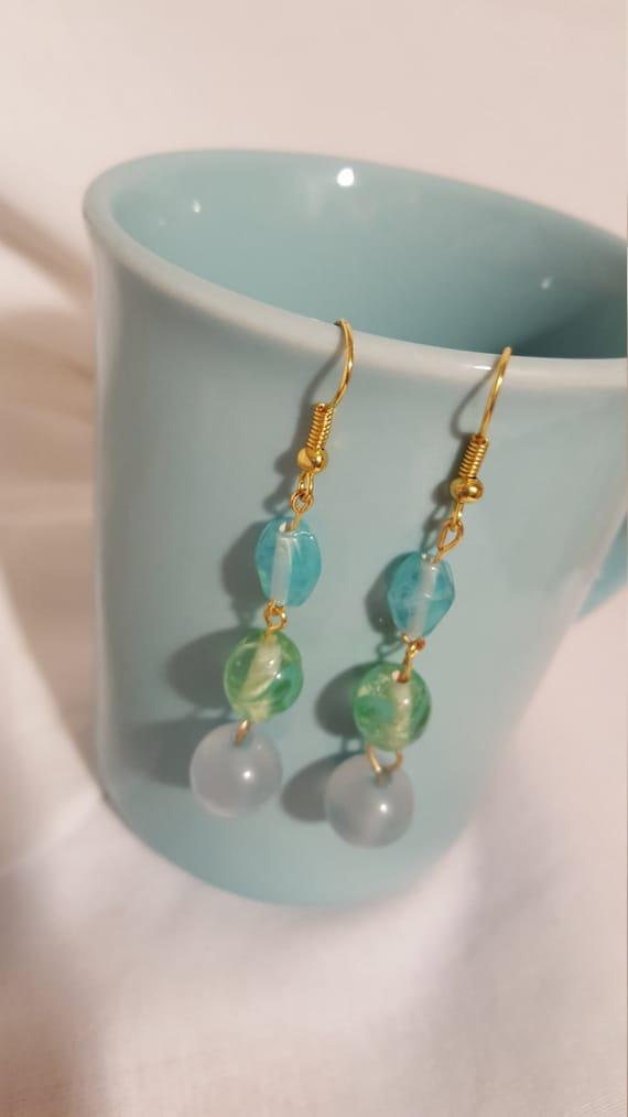 Ocean wave gold drop earrings free shipping blue sea green