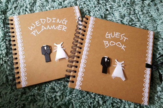 Personalised and handmade Wedding planner and guest book set x