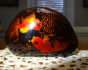 Black Glass Paperweight with Koi Fish