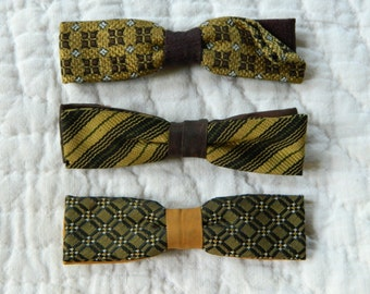 Lot of 3 Vintage Bowties. Shades of Brown and Gold.