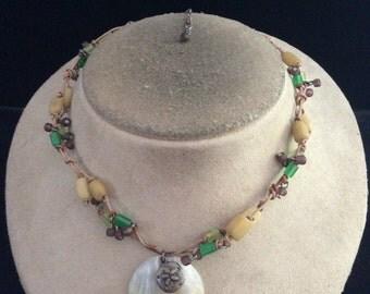 Vintage Tan Green & Purple Beaded Shell Pendant Necklace