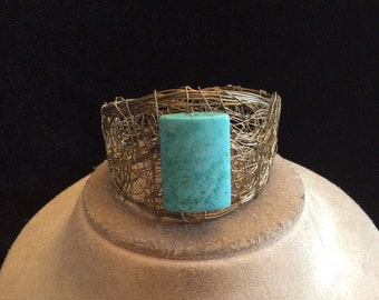 Vintage Wide Chunky Glass Faux Turq Wired Cuff Bracelet