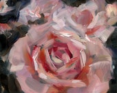 """Abstract Pink Rose, Original Oil Painting, Impressionism, 6x6"""""""