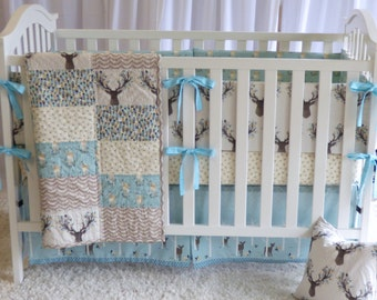 Deer Bedding Set in Aspen , quilt, modern bedding, crib bedding, fawn, stag, deer, going stag, baby girl, baby boy, gender neutral, crib set