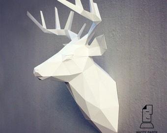 Papercraft deer head 3 - printable DIY template