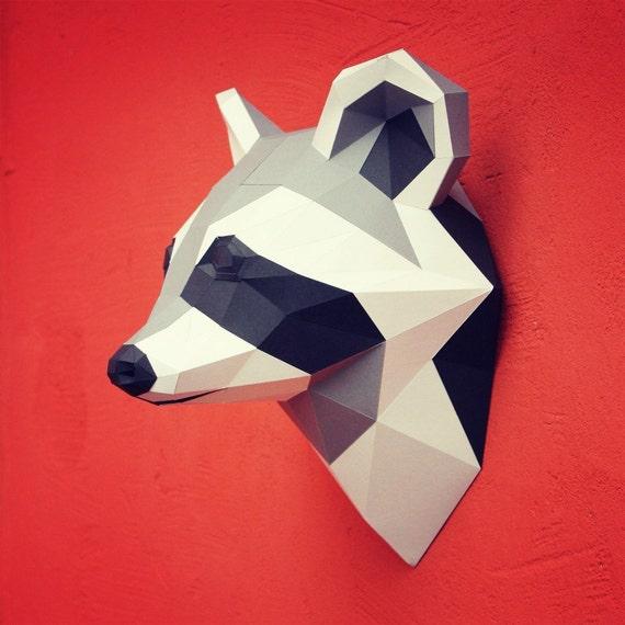 papercraft raccoon head printable diy template by