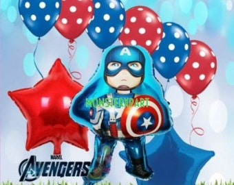 9 Piece Marvel Captain America Avengers Birthday Party Balloon Supply Super Hero Decor latex