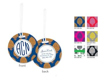 Personalized Bag Tag, 2 Bag Tags, Monogram Luggage Tag, Personalized Luggage Tag w Name or Monogram, Custom Bag Tag, Preppy Bag Tag,