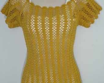 True Vintage 70's Mustard Yellow Handmade Crochet Layering Top Size S