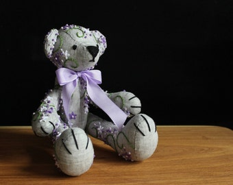 Hand embroidery lilac blossom linen teddy bear