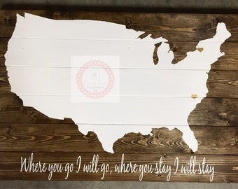 U.S Map, wooden sign ,home decor, pottery barn style.