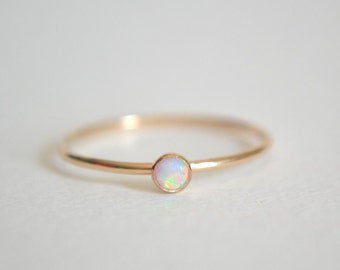 14k Solid Gold Opal Ring, Stacking Ring, 14k Gold Ring, Dainty Opal Ring, Stackable Ring, Simple Ring, Pink Opal, Blue Opal, Purple Opal