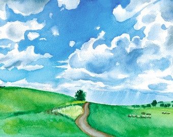 Watercolor Painting, Watercolour Landscape, trees, mountain,clouds, blue, green, decor,nature art,country decor