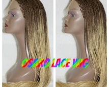 blonde brown ombre  micro box  neatly braided lace front wig. glueless. natural hair line.  heat safe