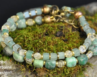 The Two Green, agate and aventurine bracelets by Tribu Urbaine Design ®
